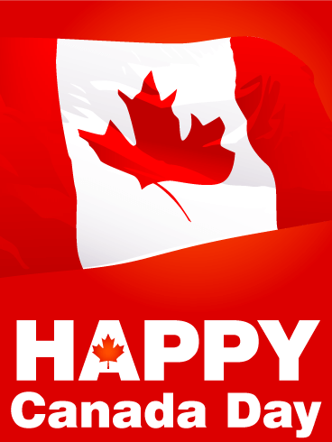 Waving Canadian Flag Canada Day Card