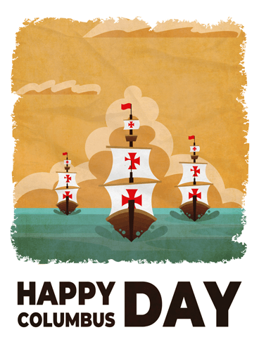 Three Ships – Columbus Day Card