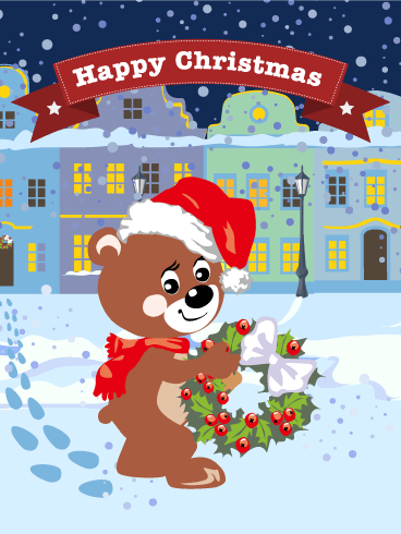 Bear Santa Merry Christmas Card