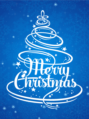 Blue Merry Christmas Card