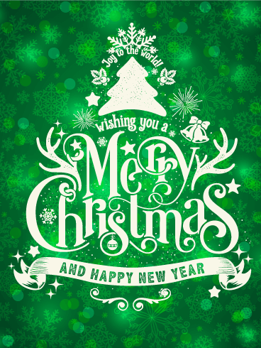 Shiny Green Merry Christmas Card