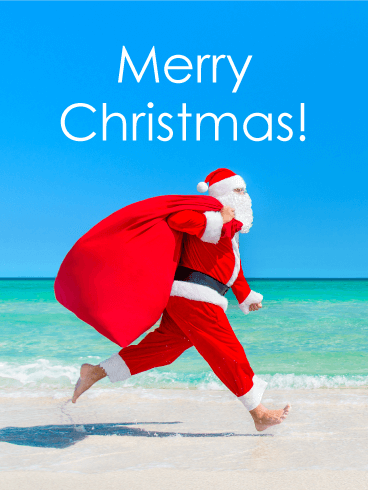 santa on the beach merry christmas card birthday greeting cards