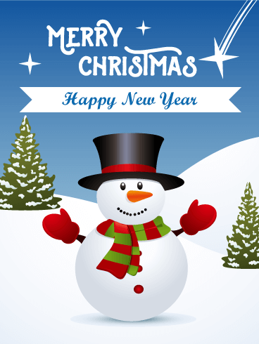 Smiling Snowman Merry Christmas Card