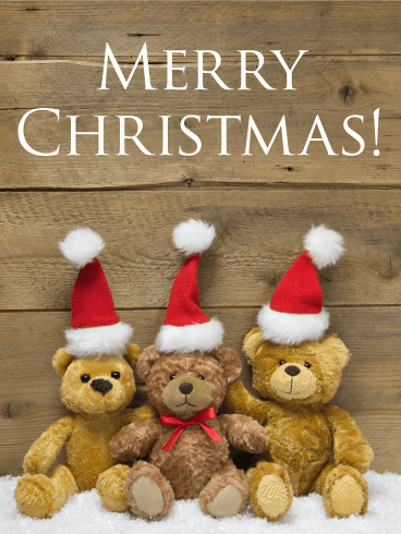 Cute Santa Teddy Bear Merry Christmas Card