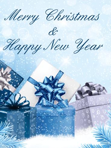 Blue christmas gift box card birthday greeting cards by davia blue christmas gift box card m4hsunfo
