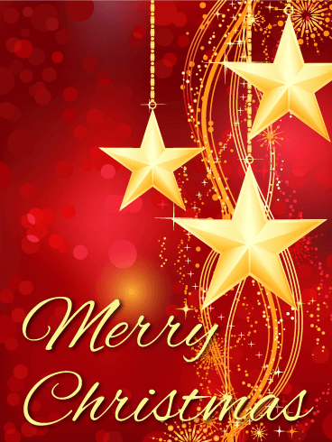 Golden Christmas Star Card