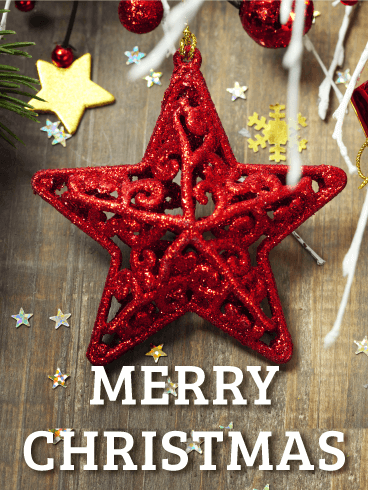 Red Christmas Star Card