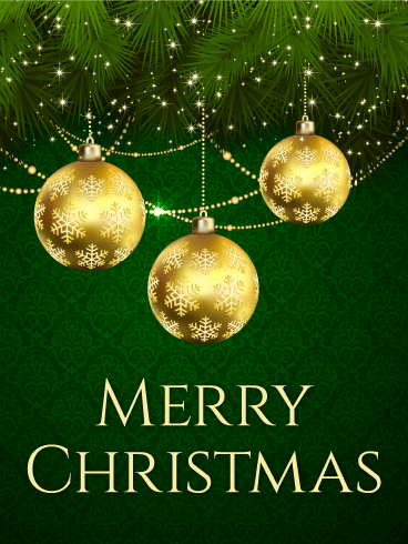 Golden Christmas Bauble Card