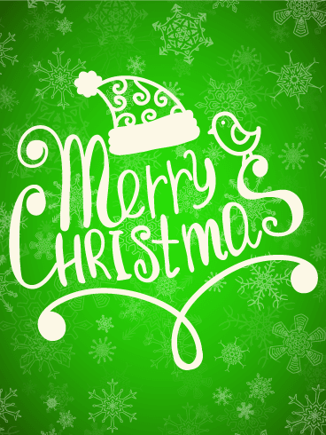 Bright Green Merry Christmas Card