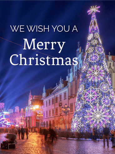 Beautifully Illuminated Christmas Tree Card