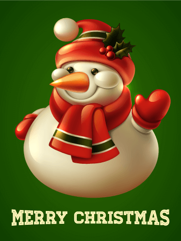 Classic Smiling Snowman Merry Christmas Card