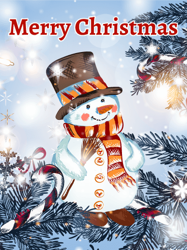 Classic Shinning Snowman Merry Christmas Card