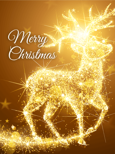 Shining Reindeer Merry Christmas Card