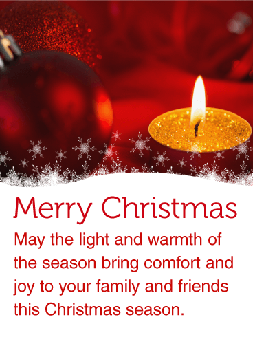 Warm Christmas Candle Light Card
