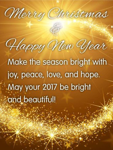 merry christmas happy new year make the season bright with joy peace send this bright beautiful christmas card
