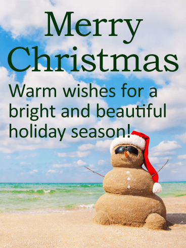 Sand Snowman Merry Christmas Card