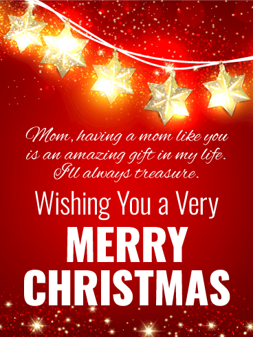 Bright Christmas Star Card for Mother