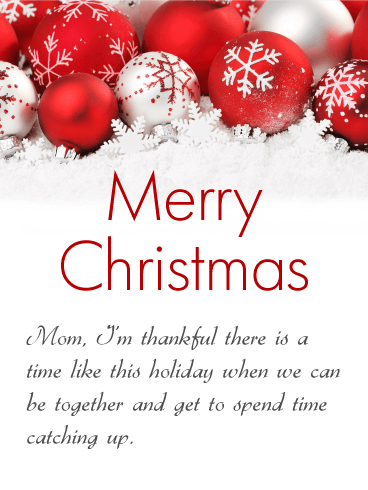 Gorgeous Christmas Ornaments Card for Mother