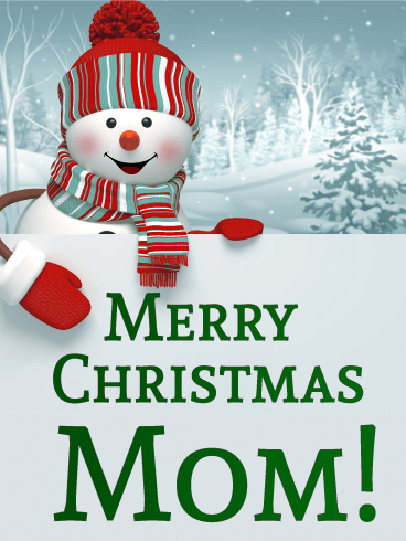 Happy Snowman Merry Christmas Card for Mother