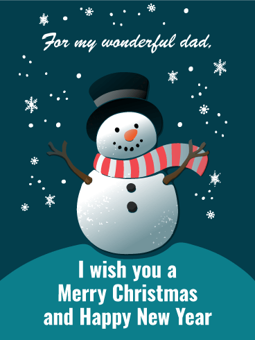 cheerful snowman merry christmas card for father - Merry Christmas Dad