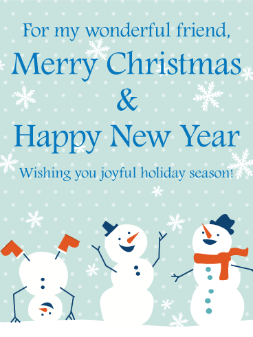 cheerful snowmen merry christmas card for friends