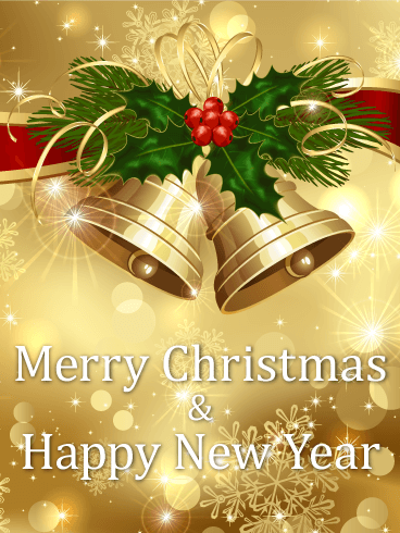 Golden Christmas Bell Card