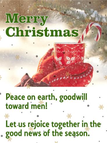 peace on earth merry christmas card - Peace On Earth Christmas Cards