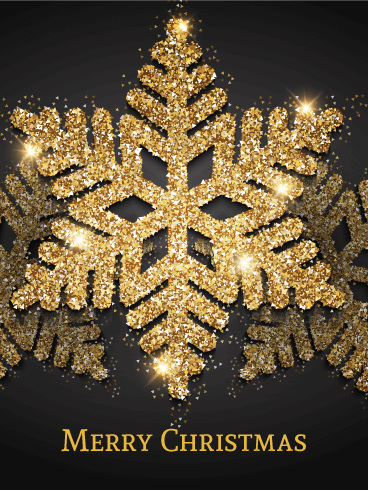 Shining Golden Snowflake Merry Christmas Card