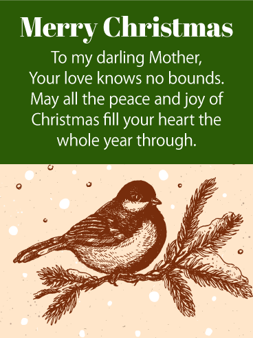 To My Darling Mother - Merry Christmas Wishes Card