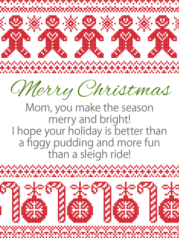 merry christmas wishes card for mother