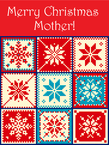 Snowflake Christmas Quilt Card for Mother