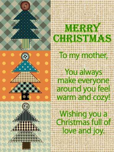 Patchwork Quilt Christmas Wishes Card for Mother