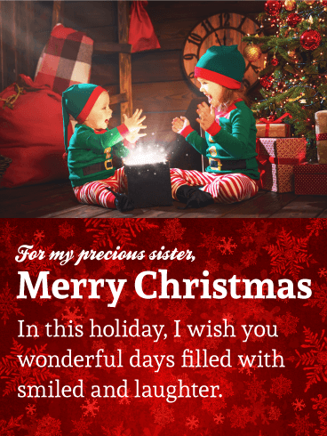 For My Precious Sister - Sweet Merry Christmas Wishes Card