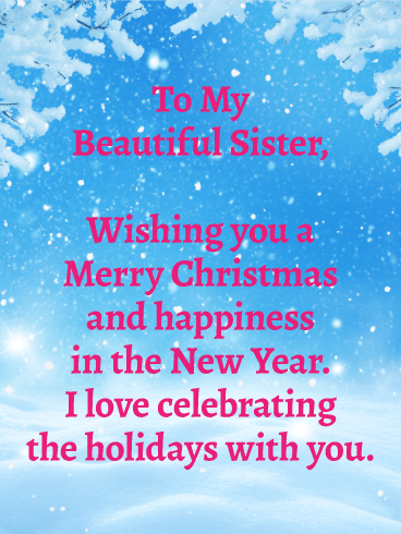 to my beautiful sister merry christmas wishes card