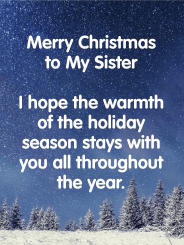 Silent Night - Merry Christmas Wishes Card for Sister