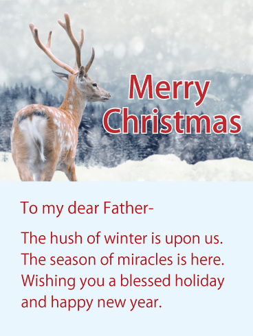 Wishing You a Blessed Holiday! Merry Christmas Wishes Card for Father