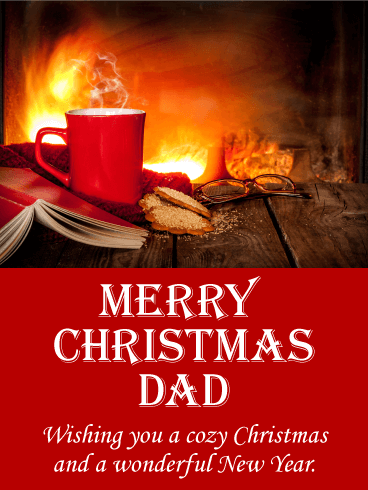 Cozy Merry Christmas Card for Father