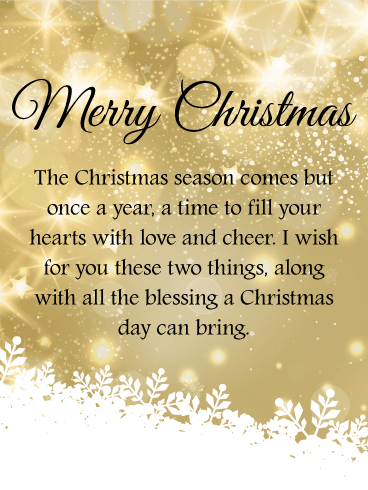 Golden Twinkling Merry Christmas Wishes Card
