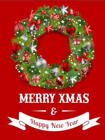 Santa puppies merry christmas card birthday greeting cards by davia red christmas wreath card bookmarktalkfo Images