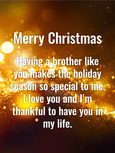 Stunning Golden Merry Christmas Wishes Card for Brother