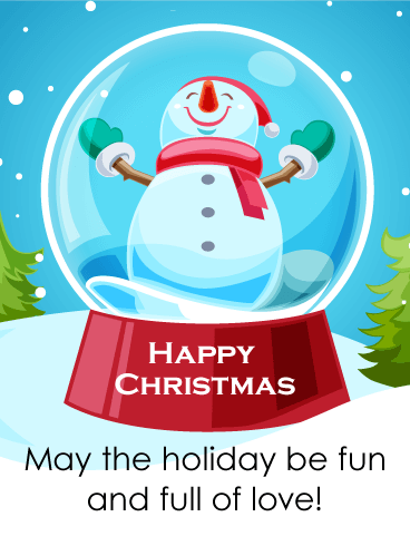 Cheerful Snowman Merry Christmas Card