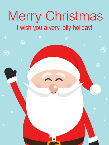 Jolly Cheer Santa Merry Christmas Card