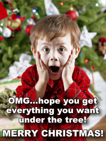 Surprised Boy Funny Merry Christmas Card