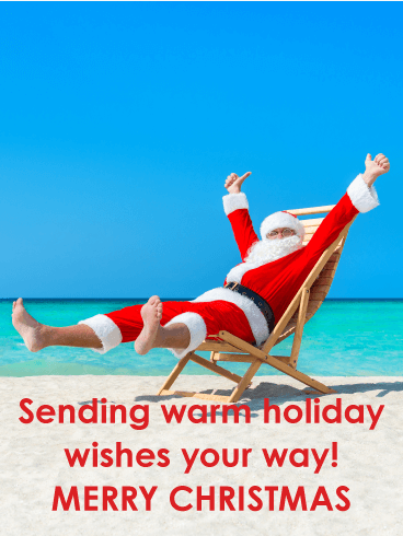 Summer Santa Funny Merry Christmas Card