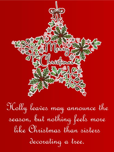 Classic Merry Christmas Wreath Card for Sister