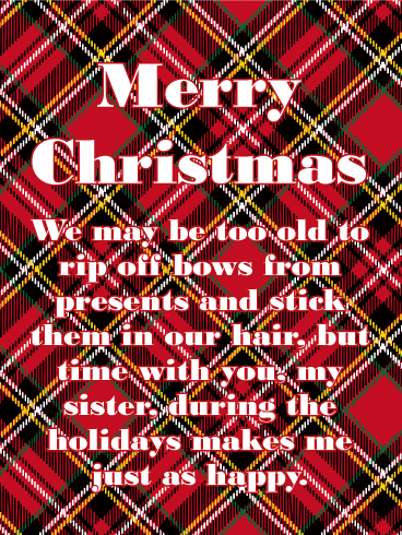 Plaid Christmas Card for Sister
