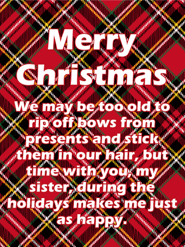 Plaid Merry Christmas Card for Sister