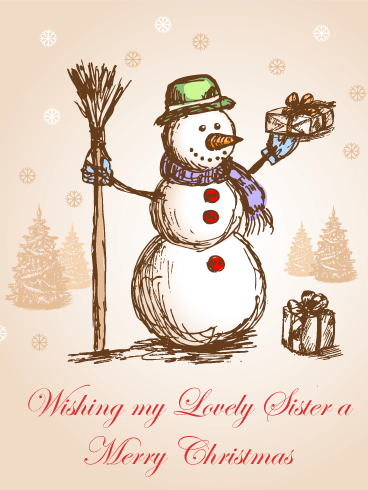 Classic Snowman Merry Christmas Card for Sister