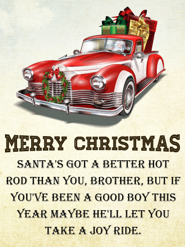 Hot rod christmas card for brother birthday greeting cards by davia hot rod christmas card for brother m4hsunfo