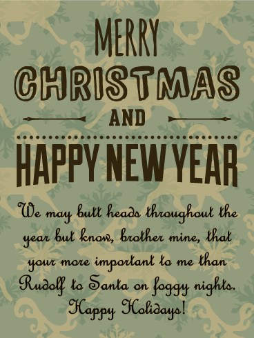 retro design merry christmas card for brother